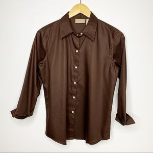 LIZ CLAIBORNE Lizwear Brown Cotton Button Down Top